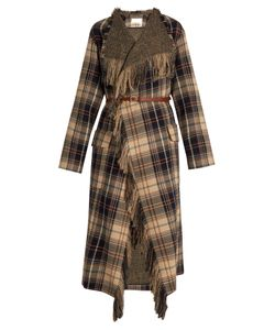 Chloe | Fringed Wool And Cotton-Blend Tartan Coat