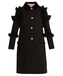 Gucci | Ruffle-Trimmed Single-Breasted Wool Coat