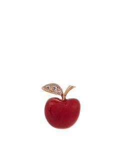 ALISON LOU | Diamond Enamel Yellowapple Earring