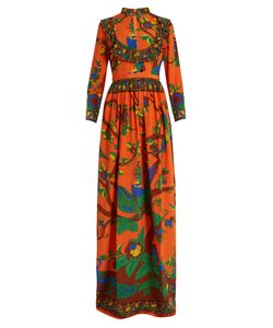Gucci | Jubilee-Print Mandarin-Collar Silk Gown