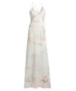 GALVAN | Tie-Dye V-Neck Sleeveless Silk-Satin Gown