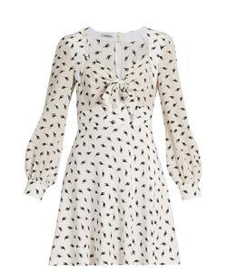 Miu Miu | Cat-Print Long-Sleeved Silk Dress