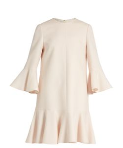 Valentino | Fluted Sleeve And Hem Wool And Silk-Blend Dress