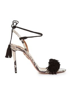 Aquazzura | Wild Thing Snakeskin Fringed Sandals