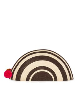 Sophie Anderson | Alicia Half Moon Striped Straw Clutch