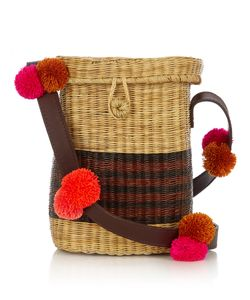 Sophie Anderson | Flores Pompom-Embellished Wicker Shoulder Bag