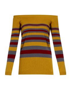 Valentino | Off-The-Shoulder Striped Cashmere Sweater