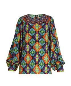 Andrew Gn | Geometric-Print Silk-Blend Crepe Blouse