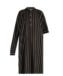 Balenciaga | Asymmetric-Sleeve Striped Shirtdress