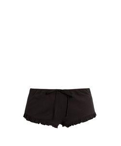 Skin | Ruffled-Hem Ribbed-Cotton Shorts