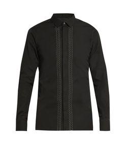 Lanvin | Button-Cuff Stitched-Front Cotton-Poplin Shirt