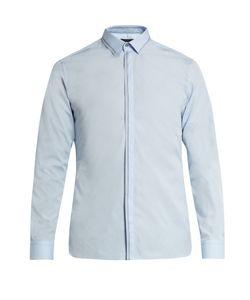 Lanvin | Button-Cuff Stitch-Detail Cotton-Poplin Shirt
