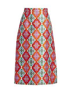 Andrew Gn | Geometric-Print Sateen Midi Skirt
