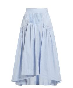 Teija | Smocked Dip-Hem Striped Cotton Skirt
