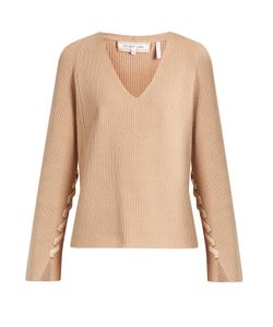 Helmut Lang | Lace-Sleeve V-Neck Wool And Cashmere-Blend Sweater