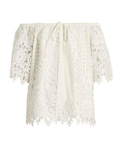 Temperley London | Berry Lace Off-The-Shoulder Top