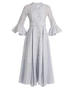 GÜL HÜRGEL | Fluted-Sleeve Striped Linen Dress