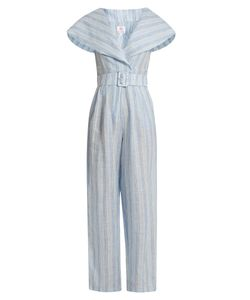 GÜL HÜRGEL | Sailor-Collar Striped Linen Jumpsuit