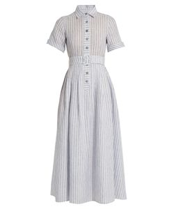 GÜL HÜRGEL | Short-Sleeved Striped Cotton And Linen-Blend Dress