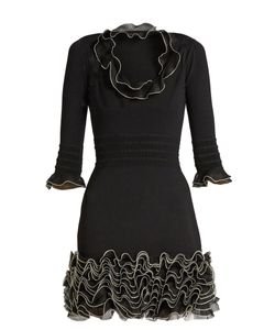 Alexander McQueen | Ruffle-Trimmed Stretch-Knit Mini Dress