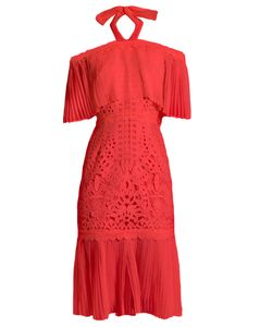 Temperley London | Berry Lace Off-The-Shoulder Dress
