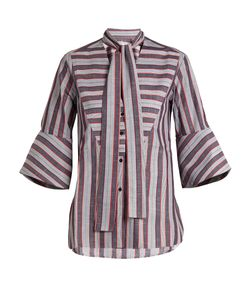 PALMER/HARDING | Striped Pussybow-Neck Cotton Shirt