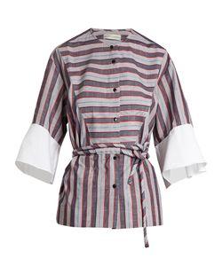 PALMER/HARDING | Flounce-Cuff Cotton-Poplin Shirt
