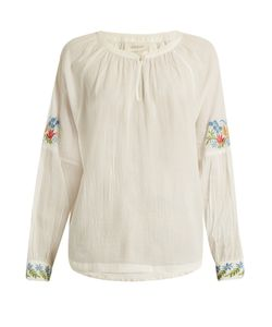 THE GREAT | The Sonnet Embroidered Cotton Top