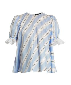 ANNA OCTOBER | Puff-Sleeve Striped Cotton Top