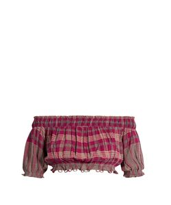 A PIECE APART | Oeste Off-The-Shoulder Plaid Cropped Top