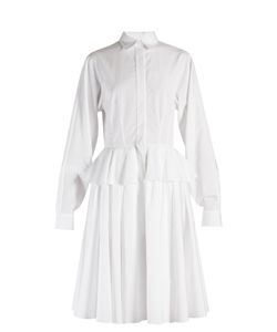 Givenchy | Point-Collar Fluted-Peplum Cotton Dress