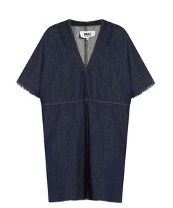 MM6 by Maison Margiela | V-Neck Frayed-Edge Denim Dress