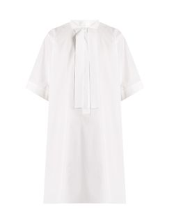 MM6 by Maison Margiela | Grosgrain-Collar Short-Sleeved Cotton Dress
