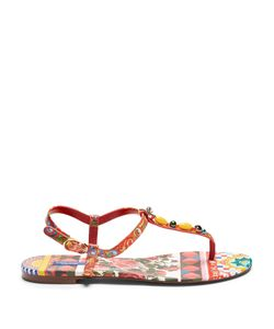 Dolce & Gabbana | Majolica-Print Leather Sandals