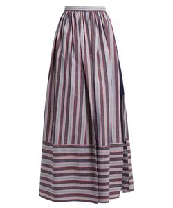 PALMER/HARDING | Double-Layer Striped Cotton-Poplin Skirt