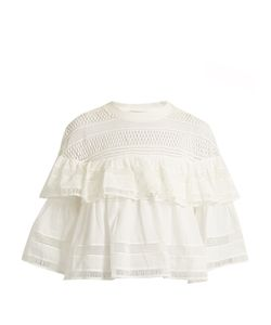 Sea | Ruffled Macramé-Lace Cotton Top
