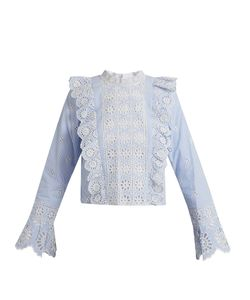 Sea | Ruffle-Trimmed Striped Broderie-Anglaise Top