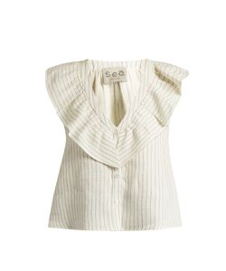 Sea | Sleeveless Pinstriped Linen Top