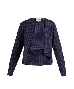 Sea | Long-Sleeved Varsity-Plaid Cotton Top