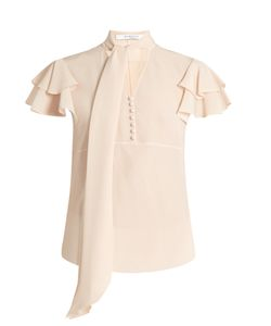 Givenchy | Neck-Tie Short-Sleeved Silk Blouse