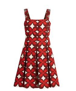 Valentino | Cuban Flower-Print Pleated Mini Dress