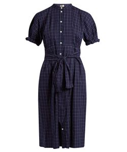 Sea | Short-Sleeved Varsity-Plaid Cotton Dress