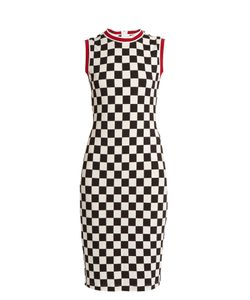 Givenchy | Round-Neck Sleeveless Checked-Jersey Dress