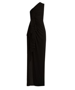 Givenchy | Gathered One-Shoulder Ruffle-Trimmed Jersey Gown