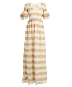 Huishan Zhang | Cora V-Neck Striped Lace Gown