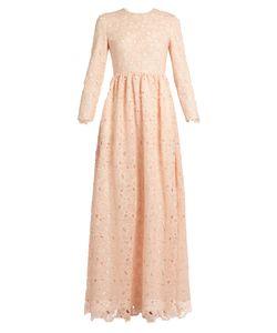 Huishan Zhang | Axelia Cloud-Lace Long-Sleeved Gown