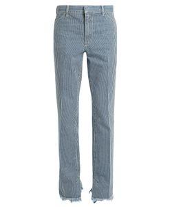 Toga | Frayed-Hem Striped Straight-Leg Jeans