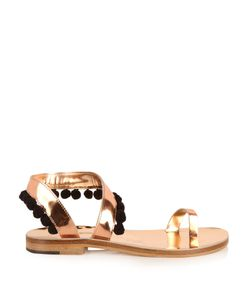 ÁLVARO | Angela Pom-Pom Embellished Leather Sandals