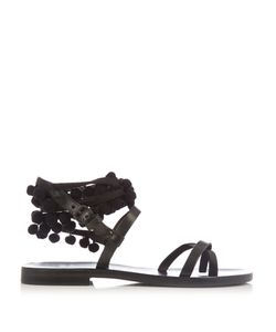 ÁLVARO | Anna Pompom-Embellished Leather Sandals
