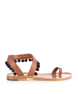 ÁLVARO | Angela Pompom-Embellished Leather Sandals